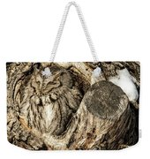 Screech Owl In Cavity Nest Weekender Tote Bag