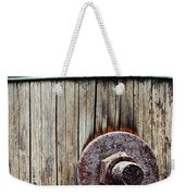 Screw Attached To A Wooden Beam Weekender Tote Bag