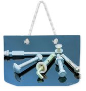 Screwbolts Screw Nuts, Hanger And Bolt Washers On Blue Background Construction Concept. Weekender Tote Bag