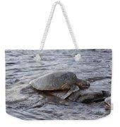 Sea Turtle On Rock Weekender Tote Bag