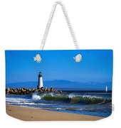 Seabright Beach Lighthouse With Surf Weekender Tote Bag