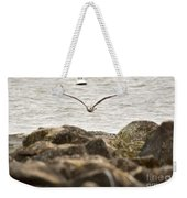Seagull Flying Into Ocean Jetty Weekender Tote Bag
