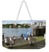 seagulls near a pond in the center of Reykjavik Weekender Tote Bag