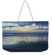 Seagulls On Beach At Sunset Weekender Tote Bag