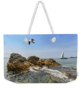 Seascape With A Yacht Weekender Tote Bag