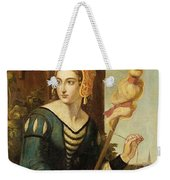 Seated Noble Lady With Distaff Weekender Tote Bag
