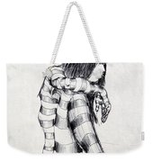 Seated Striped Nude Weekender Tote Bag