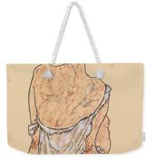 Seated Woman In Underwear Weekender Tote Bag