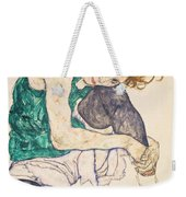 Seated Woman With Legs Drawn Up Weekender Tote Bag