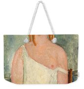 Seated Young Girl In A Shirt Weekender Tote Bag