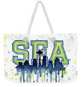 Seattle Watercolor 12th Man Art Painting Space Needle Go Seahawks Weekender Tote Bag