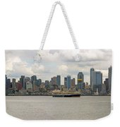 Seattle City Skyline Along Elliott Bay Weekender Tote Bag