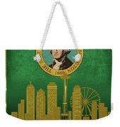 Seattle City Skyline State Flag Of Washington Art Poster Series 017 Weekender Tote Bag