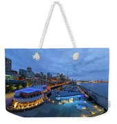 Seattle Skyline From The Waterfront At Blue Hour Weekender Tote Bag