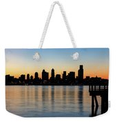 Seattle Skyline Silhouette At Sunrise From The Pier Weekender Tote Bag