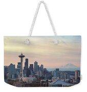 Seattle Skyline With Mount Rainier During Sunrise Panorama Weekender Tote Bag