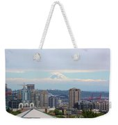 Seattle Skyline With Mt Rainier In Clouds Weekender Tote Bag