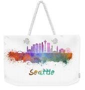 Seattle V2 Skyline In Watercolor Weekender Tote Bag