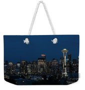 Seattle Washington Space Needle And City Skyline At Night Weekender Tote Bag