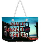 Seattle's Public Market Center At Sunset Weekender Tote Bag