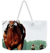 Secretariat Winning The Belmont Stakes, Jockey Ron Turcotte Looking Back, 1973 Weekender Tote Bag