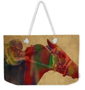 Secretariat Horse Race Watercolor Portrait Weekender Tote Bag