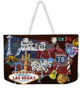 See The Usa Vintage Travel Map Recycled License Plate Art Of American Landmarks Weekender Tote Bag