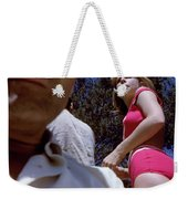 Selfie With Pink Bikini Girl Weekender Tote Bag