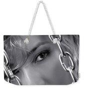 Sensual Woman Face Behind Chains Weekender Tote Bag
