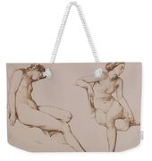 Sepia Drawing Of Nude Woman Weekender Tote Bag by William Mulready
