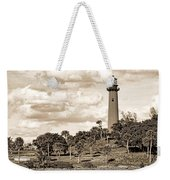 Sepia Lighthouse Weekender Tote Bag
