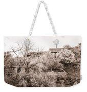 Sepia-toned Blooming Almond Trees Of Fikardou Village 1 Weekender Tote Bag