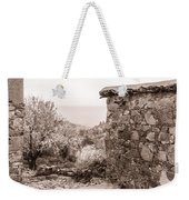 Sepia-toned Fikardou Village Scene 1 Weekender Tote Bag