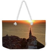 Setting Sun On The Adriatic Sea Behind Archangel Michael On Top  Weekender Tote Bag