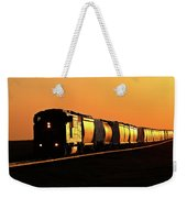 Setting Sun Reflecting Off Train And Track Weekender Tote Bag