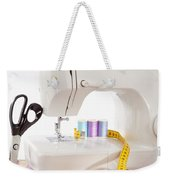 Sewing Machine With Many Sewing Utensils On A Wooden Box Weekender Tote Bag