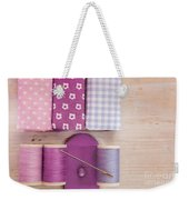 Sewing Threads Needle And Fabrics On A Wooden Box Weekender Tote Bag
