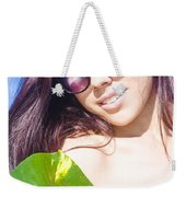 Sexy Beach Girl With Leaf Weekender Tote Bag