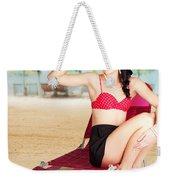 Sexy Beach Pin Up Girl Wearing High Heels Weekender Tote Bag
