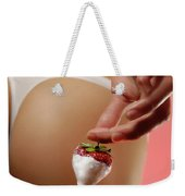 Sexy Fitness Woman With An Appetizing Strawberry Weekender Tote Bag