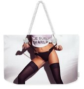 Sexy Woman In Wet Je Suis Charlie Shirt And Stockings Charlie Riina Weekender Tote Bag