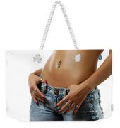 Sexy Woman With Pierced Belly In Blue Jeans Weekender Tote Bag