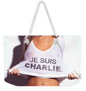 Sexy Young Woman In Wet Je Suis Charlie Shirt Charlie Riina Weekender Tote Bag