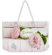 Shabby Chic Cottage Pink Roses On Pink Books - Romantic Inspirational Dream Roses  Weekender Tote Bag