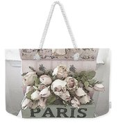 Paris Shabby Chic Pastel Paris Books Roses - Paris Shabby Cottage Watercolor Roses Weekender Tote Bag