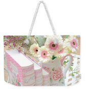 Shabby Chic Pink And Yellow Gerber Daisies Floral Art - Spring Cottage Daisies Floral Art Weekender Tote Bag