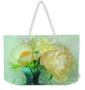 Beautiful Peony Flowers  In Blue Vase. Weekender Tote Bag