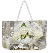 Shabby White Roses With Gold Glitter Weekender Tote Bag