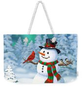 Sharing The Wonder - Christmas Snowman And Birds Weekender Tote Bag by Crista Forest