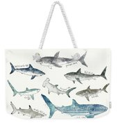 Sharks - Landscape Format Weekender Tote Bag by Amy Hamilton